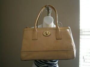 Coach Beige Tone Leather Hamptons Madeline Vintage Satchel/Tote Handbag #11554