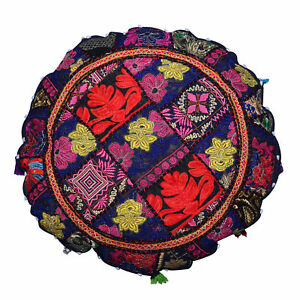 Round ottoman pouf cover embroidered patchwork ethnic floral indian decor pouffe