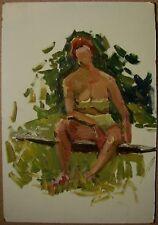 Russian Ukrainian Soviet Oil Painting Impressionism nude figure woman portrait