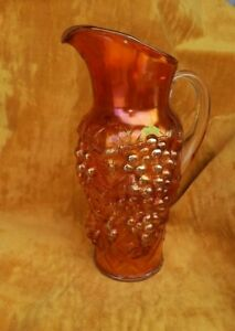 Vintage Northwood Marigold Tall Carnival Glass Grapes Pitcher Rare Find