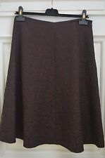 MAX MARA BROWN FLORAL  BROCADE/ DAMASK A LINE SKIRT SIZE 10 WOOL BLEND - UEC