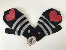 Fingerless Gloves Flip Top Mittens Black Red Heart Stripes One Size Fits All New