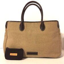 DOONEY & BOURKE Fabric Leather Large Tote Bag Purse Beige Brown Handbag w Wallet