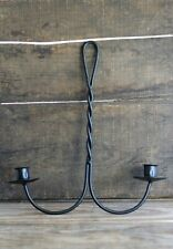 Taper Candle Holder Hanging Double Rustic Primitive Decor Black Iron