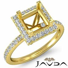 Princess Cut Classic Halo Diamond Engagement 1Ct Ring Semi Mount 14k Yellow Gold