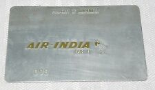 Rare Vintage Air India Metal Ticket Validation Plate Travel Agency Airlines