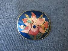 Vintage cute ladybug & flowers cloisonne enamel goldtone metal belt buckle