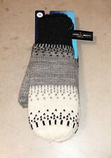 Isotoner Womens Warm Lined Acrylic Knit Mittens Black O/S New with tags