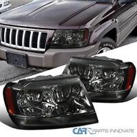 For 99-04 Jeep Grand Cherokee Smoke Headlights Tinted Head Corner Signal Lamps