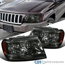 For 99-04 Jeep Grand Cherokee Smoke Headlights Tinted Head Corner Signal Lamps