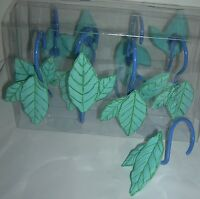 Creative Bath 12  Rolling shower curtain hooks creative bath Green Leaves