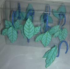 Brand New 12 shower curtain hooks creative bath Green Leaves