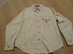 WOMENS HARLEY DAVIDSON FAUX SUEDE BUTTON DOWN SHIRT Large
