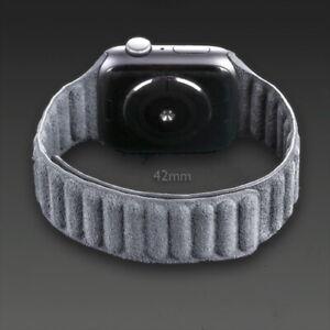 Hochwertiges Alcantara-Armband für  Apple Watch 3 4 5 6 (schwarz/grau) 42-44mm