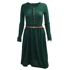 Damen Kleid Kleider Damenkleid Langarm Tailliert Basic Maxikleid M