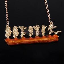 Vintage Gold Seven Dwarf 7 Zwerge Model Charm Pendant Bib Chain Necklace Punk