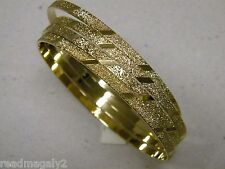 Lady's Bangle Bracelet Set of 3 Yellow Gold Plated Aros 6mm Wide Hand Engraved