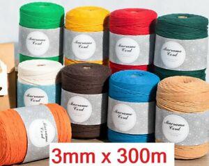 Makramee Garn 3mm x 300m Kordel Natur 100% Baumwollkordel f Makrame Wandbehang