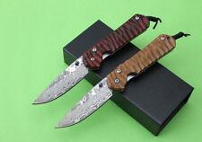 Handmade Damascus Blade Wood Handle high-end Line Lock Folding Knife SF20