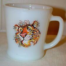 Vintage Fire King Esso Exxon Tiger D Handle Mug Milk Glass Cup Gas Advertising
