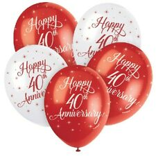 "5 x Happy 40th Anniversary 12"" Latex Balloons Helium Ruby Party Decoration"