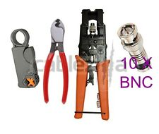 Compression Tool Stripper Cutter BNC F Coax Connector RG59 Crimping Cable 10Con