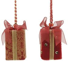 Set of 2 Red Fabric Gift Boxes Christmas Tree Decorations  NEW