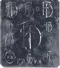 Grande monogramma Stencil FD Nouveau stagnata 15,5 x 18 cm weissstickerei