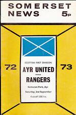 Somerset News Ayr United V Rangers Schottische League Programm 2 September 1973