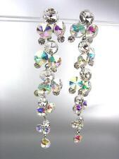 STUNNING Clear Iridescent AB Czech Crystals WATERFALL Long Dangle CLIP Earrings