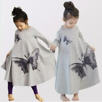 Kids Baby Girls Dress Long Sleeve Butterfly Cotton Princess Loose Dress 2-7Y New