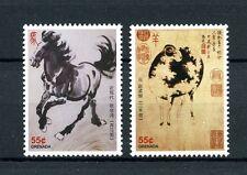 Grenada 2012 MNH Zodiac Calendar 2v Set Chinese Lunar New Year Horse Ram Stamps