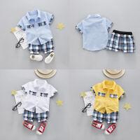 2pcs Baby Toddler Kid Infant Boy Summer Cotton Outfits T shirt+ Short Pants Set