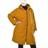 Wollemantel Mantel Boucle Wolle  Kapuze Senf 50 52 54 56 58 60 XXL
