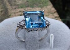 5.85 cts Genuine Swiss Blue Topaz Size 7 Ring 10k White Gold w/Zircon Accents