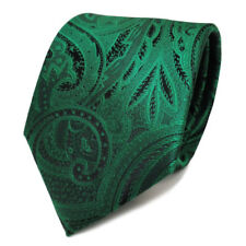 Elegante TigerTie Krawatte grün smaragdgrün schwarz Paisley - Krawatte Tie