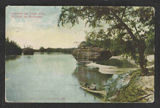 1907 INKSTAND AND SUGAR BOWL DELLS OF THE WISCONSIN RIVER WIS POSTCARD