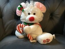 Fisher Price Vintage 1991 Christmas Puffalump White Mouse Plush Candy Cane