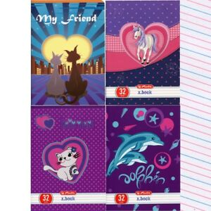 Cats, Kitten, Dolphin handwriting exercise 3-lined book A5 32. Zeszyt w 3 linie