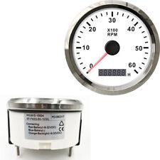 Car Truck Boat Speedometer Gauge Tachometer Waterproof 0-6000RPM 12V 24V Silver