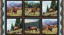 North American Wildlife cotton Panel 24 by 44 inches Earth Elk
