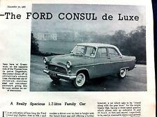 FORD CONSUL MkII (204E) de luxe SALOON -1960 - Road Test Removed from The Motor
