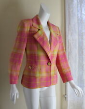 Fine Guy Laroche Vtg 1980s Paris Wool Yellow Pink Plaid Jacket Blazer S M 4/6