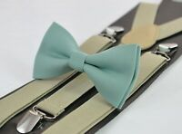 Sage Green Cotton Bow tie + Khaki Beige Suspenders Braces for Men Youth or Boy