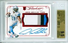 Ameer Abdullah 2015 Panini Flawless 4 Color Ruby Rookie Patch Auto /15 BGS 9.5