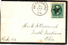 Petersburg, VA  fancy star in circle cancel  - mourning envelope  stains on back