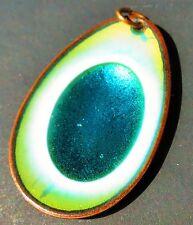 HOGAN - BOLAS signed rare enamel Peackock eye colors copper charm       id