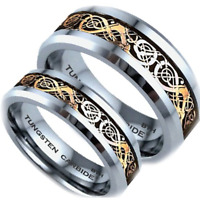 UK - His And Hers Tungsten Carbide Celtic Dragon Inlay Matching Wedding Ring Set
