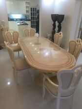 LUXURY LARGE ITALIAN IVORY HIGH GLOSS DINING EXTENDING TABLE & 6 CHAIRS