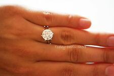 ENGAGEMENT RING ROUND CUT SOLITAIRE BRIDAL SOLID REAL 14K WHITE GOLD 4.0 CTW